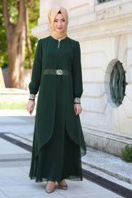 8c9dade014357 NAYLA COLLECTION - Nayla Collection - Tüllü Dantel Detaylı Yeşil Tesettür  Elbise 95843KY