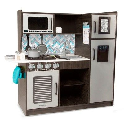 Melissa Doug Chef S Kitchen Pretend Play Set Charcoal In