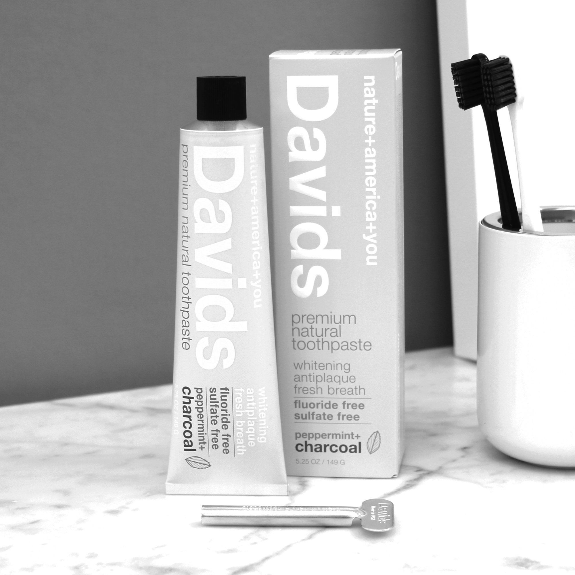 Davids Toothpaste Peppermint Charcoal Toothpaste in a