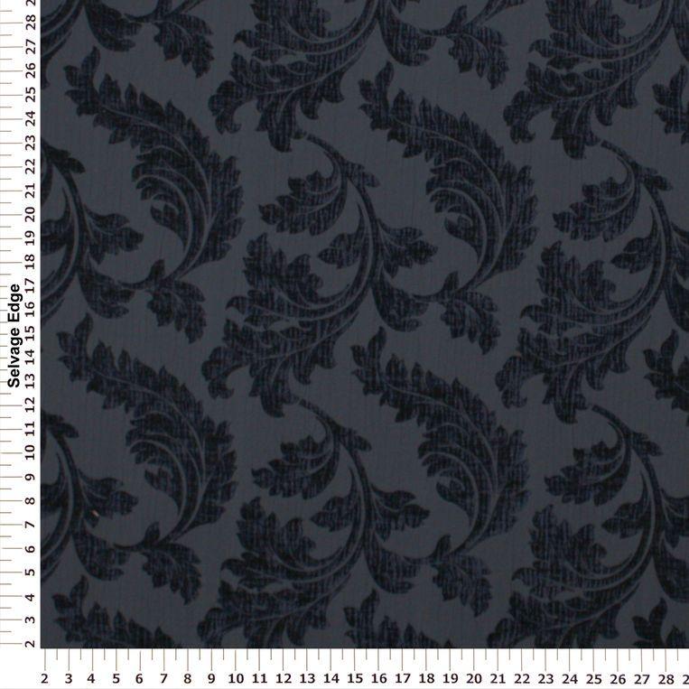 Scroll Leaf Blue Polyester Fabric #fallintofashion14