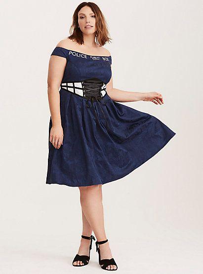 d93a8d26e7b7 Doctor Who TARDIS Off Shoulder Swing DressDoctor Who TARDIS Off Shoulder  Swing Dress