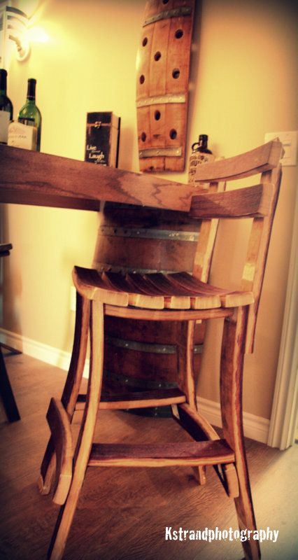 Bar Stool made out of retired wine barrels. tags: wine barrel furniture, bar stool, bar furniture, reclaimed wood, recycled, upcycled, barware, bar ware $175