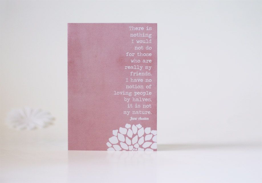 Jane Austen Friendship Greeting Birthday Card -My Friends Greeting Card -Northanger Abbey Pink Valentines Day. $5.00, via Etsy.