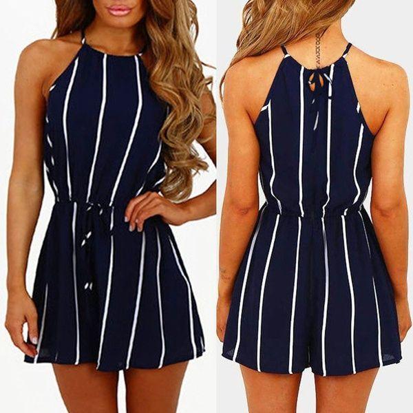 Hot! Women Fashion Off Shoulder Sleeveless Rompers Summer Sleeveless Striped Jumpsuit (S-XL) | Wish #jumpsuitromper
