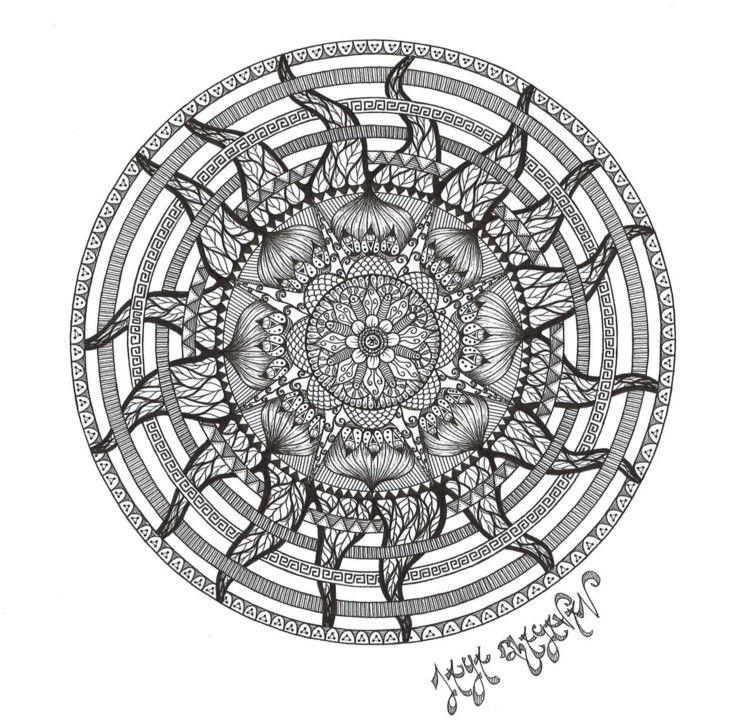 Mandala Soleil - Dessin, 42x29,7 cm ©2016 par Jaya Bhagavan ...