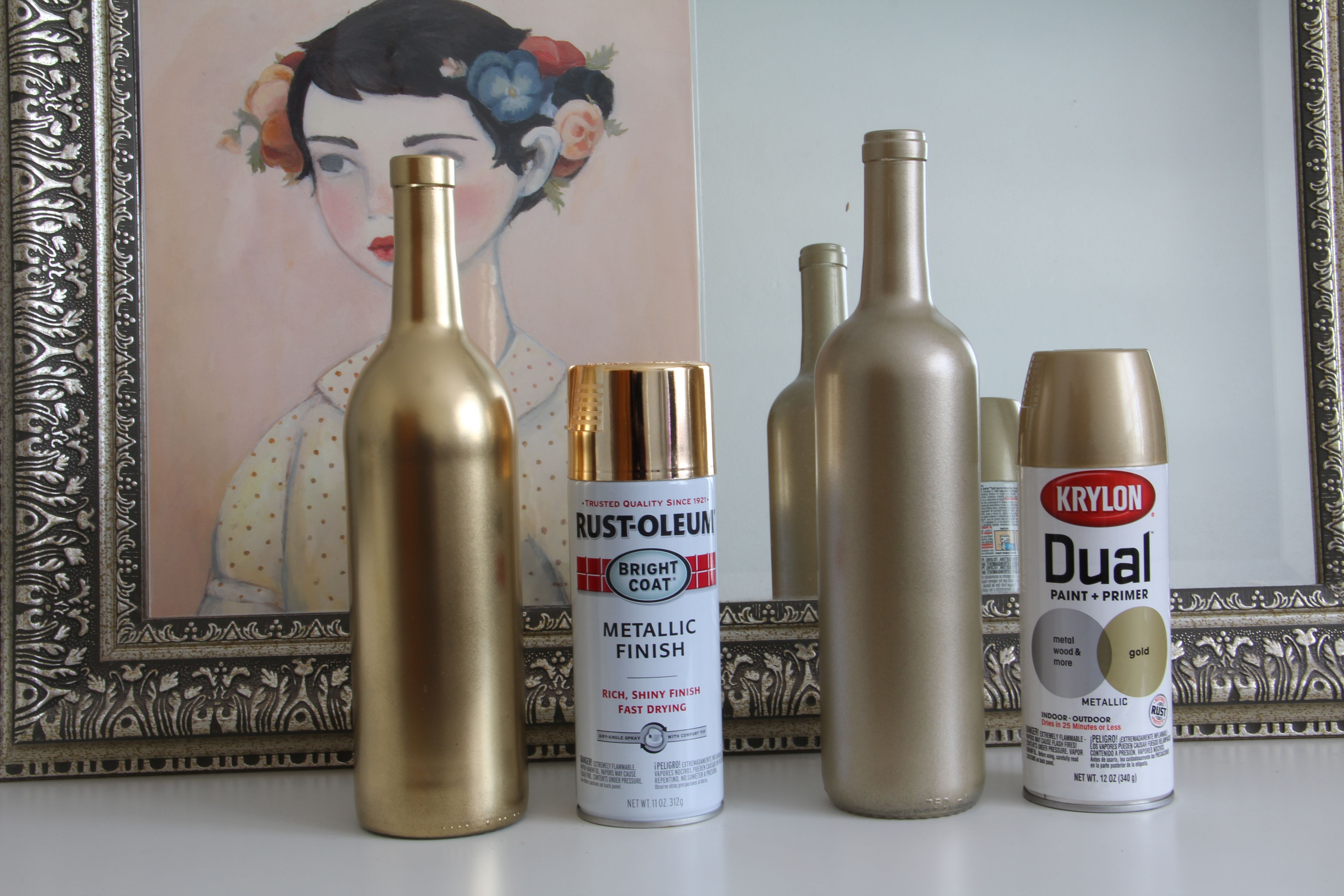 Wedding decorations with wine bottles  gold champagne golds spay paint wine bottles  Google Search