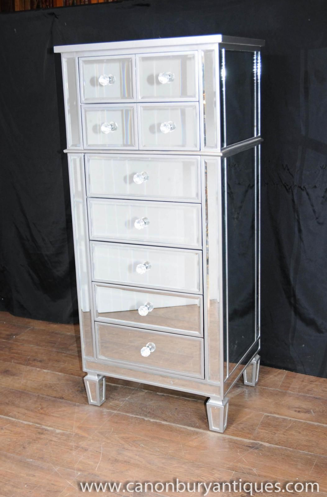 Photo of Art Deco Mirror Chest Drawers Tall Boy Mirrored Furniture ...