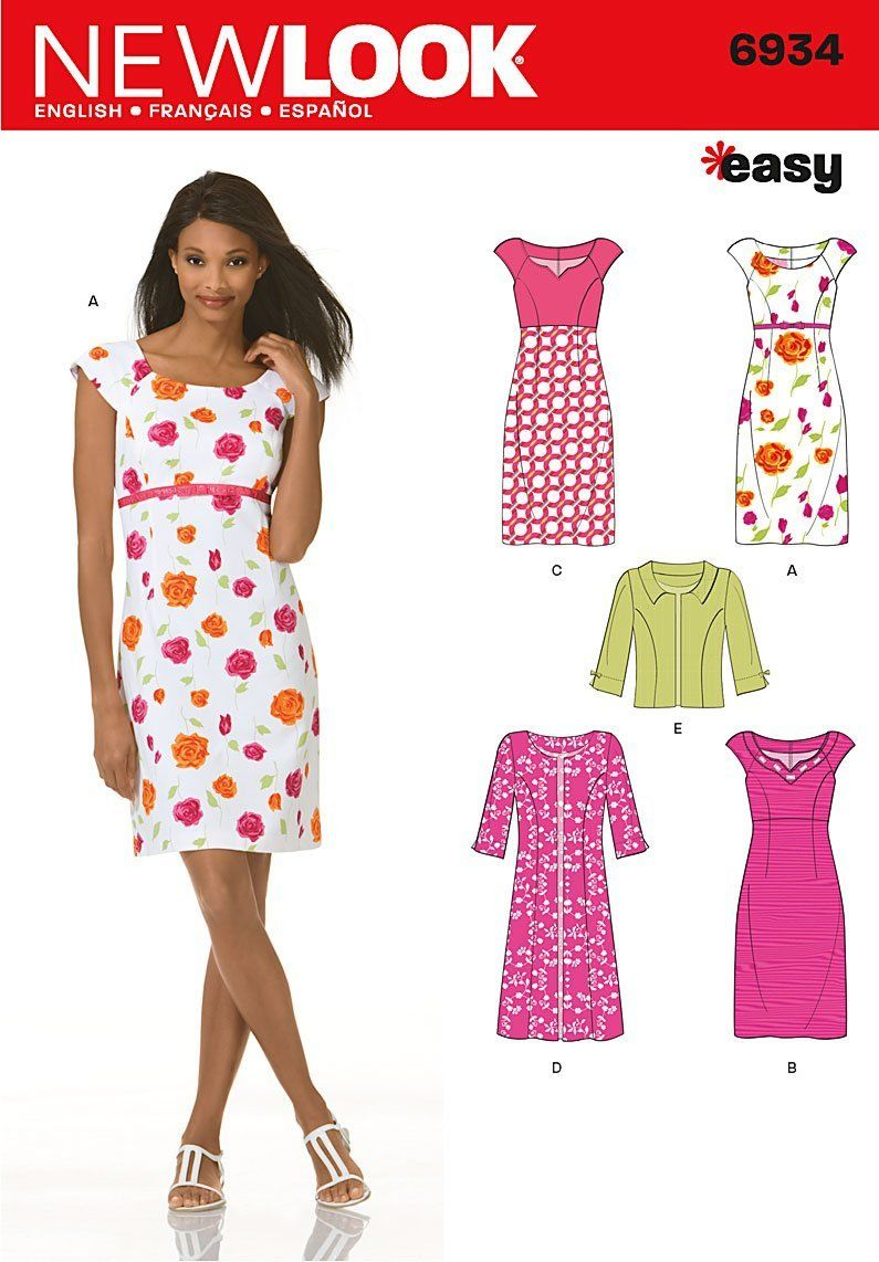 Amazon.com: New Look Sewing Pattern 6934 Misses Dresses, Size A (10 ...