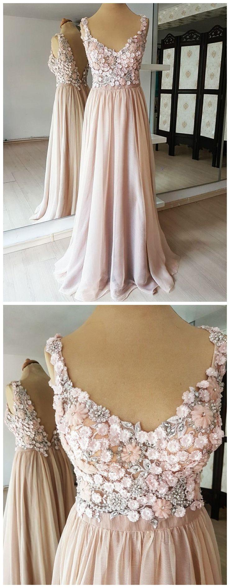 Blush pink long prom dresses flower applique beaded backless formal