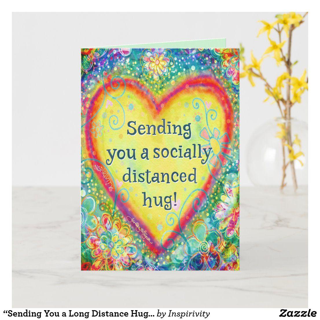 "Sending You a Long Distance Hug"" Inspirivity Card  Zazzle.com"