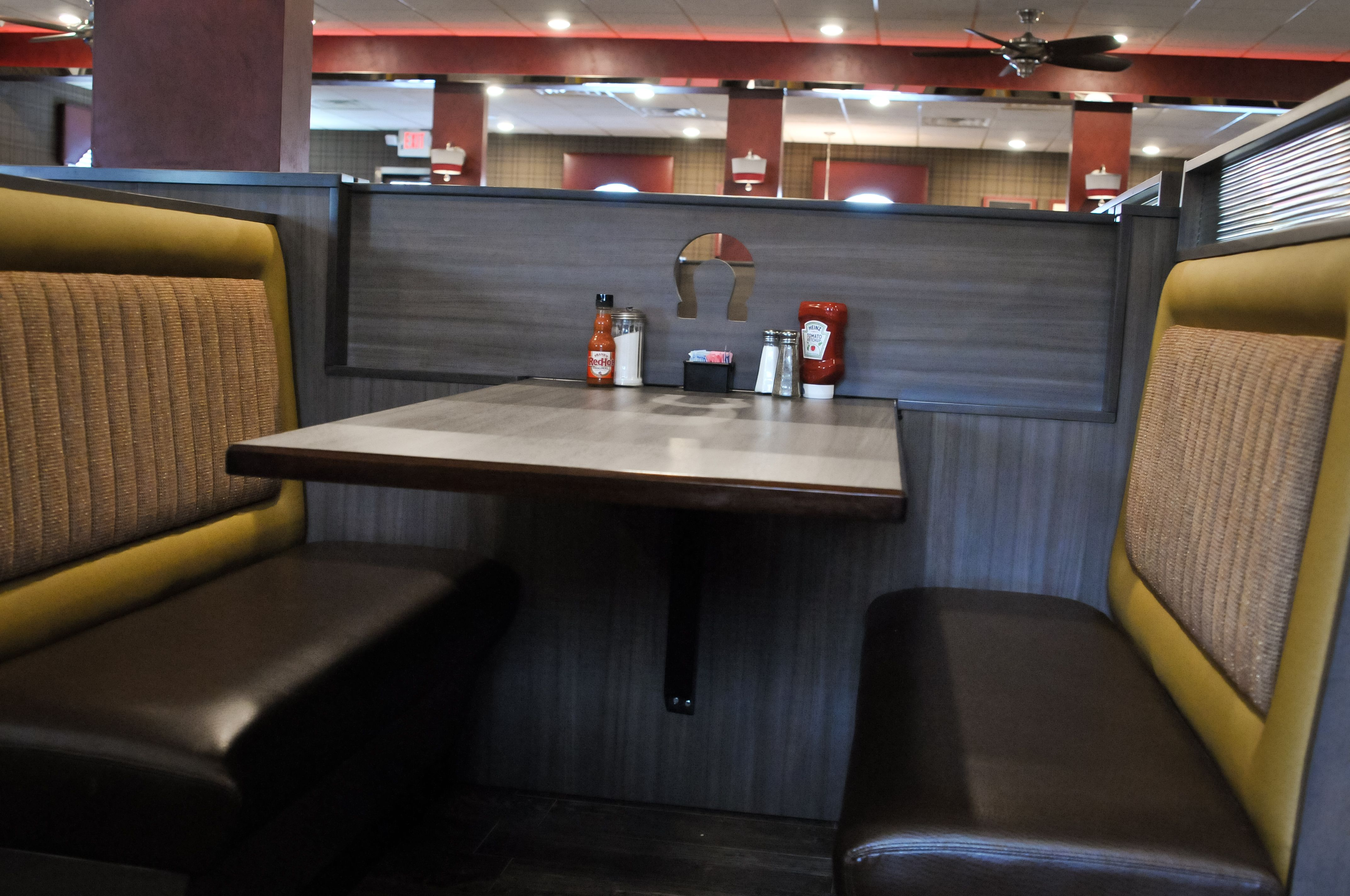 The Booths At The Black Horse Diner Are Able To Be Conjoined When The Half Wall Drops Down To Connect The Tables On Either Side