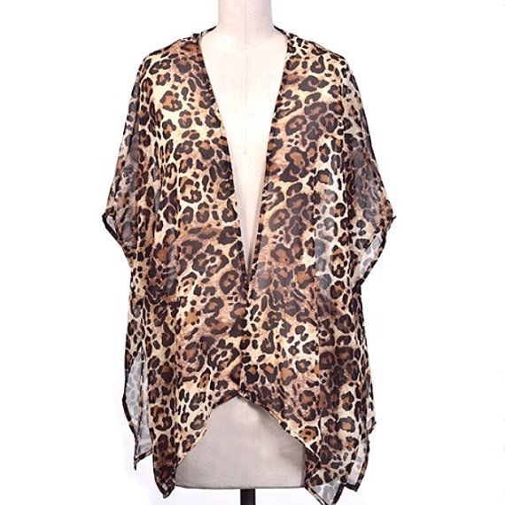 Leopard print kimono, animal print kimono, animal print cardigan ...