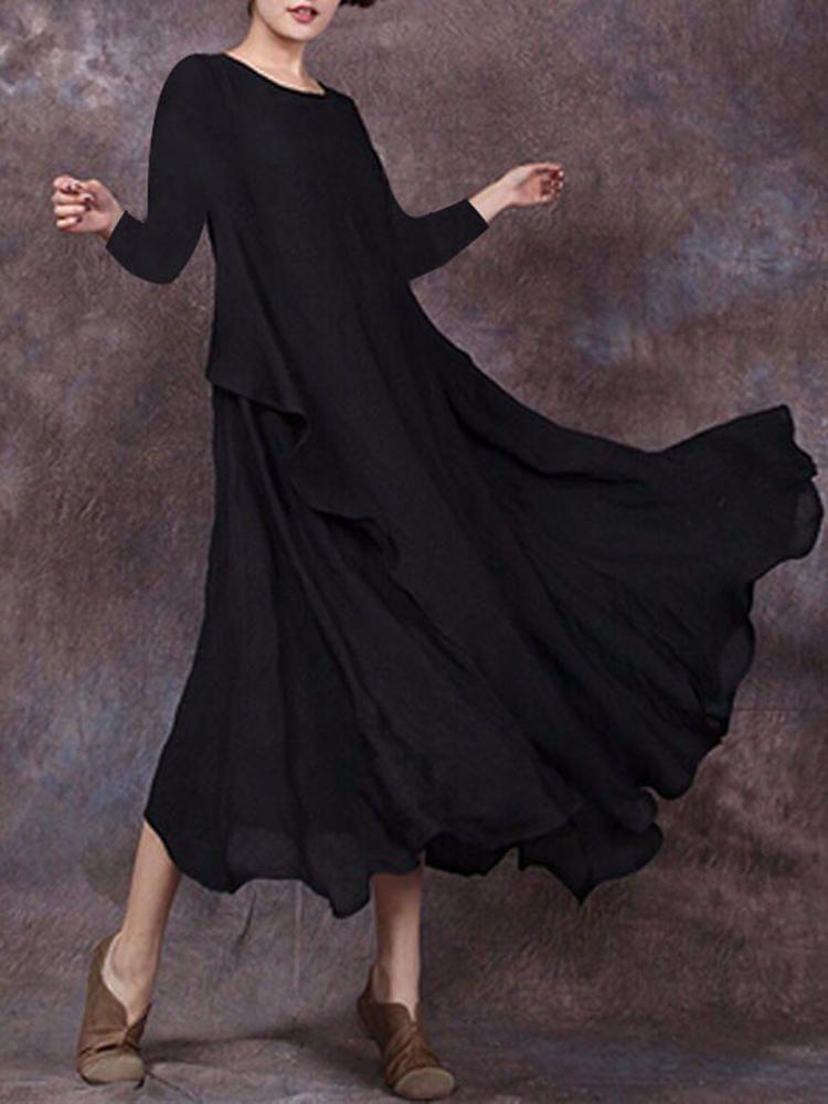 388386cb1cd92 Celmia Casual Loose Women Solid Color Long Sleeve Vintage Maxi Dress ...