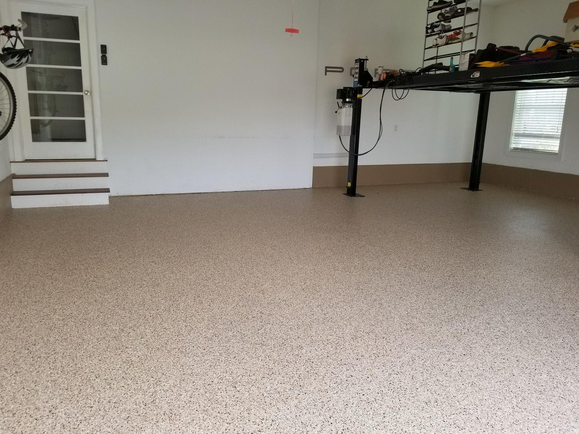 Garage Floor Coating Using Saddle Tan Myrtle Beach Sc Job Concrete Decor Garage Floor Coatings Floor Coating