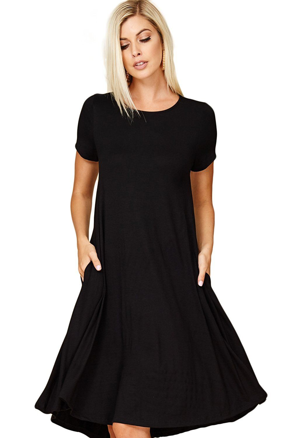 b8101b2360 Annabelle Women's Comfy Short Sleeve Scoop Neck Swing Dresses with Pockets  at Amazon Women's Clothing store