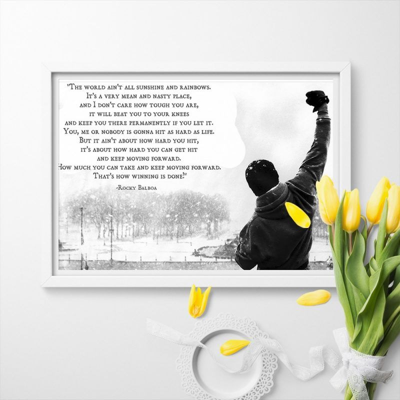 Inspirational Quotes Rocky Balboa Wall Art Canvas Painting Canvas Art print Poster Picture For Bed Room Home Deocor #rockybalboaquotes