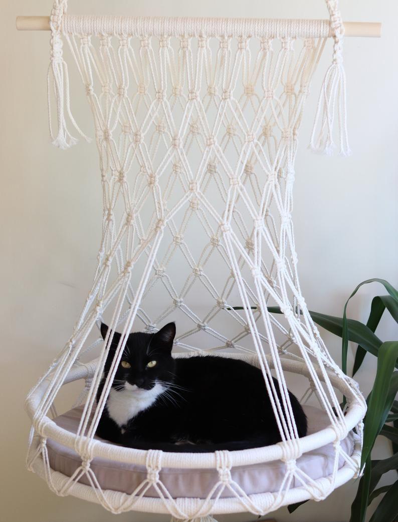 Hamac de chat, lit de chat de Macrame, hamac de chat de lin, hamac de chat de corde de lin, lit de macramé de corde de lin, lit de chat, lit pendant pour le chat, nid pour chat