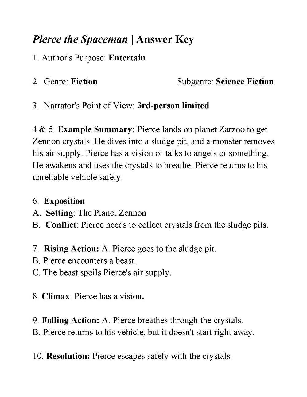 small resolution of Pierce the Spaceman   Answers   Story structure worksheets