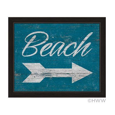 "Click Wall Art Beach Outfit Framed Textual Art in Vintage Blue Striped Size: 13"" H x 11"" W x 1"" D"