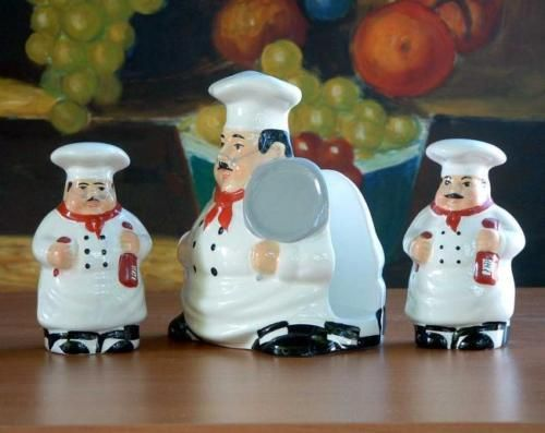 bistro fat italian chef saltpeppernapkin holder new