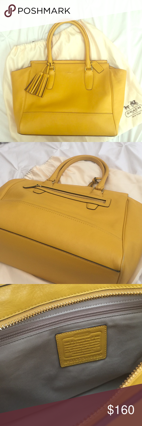 """Beautiful Yellow Coach Bag I absolutely LOVE this bag. Perfect size, perfect color!❤️ Not at all sure I'm ready to part with it. Leather with gold hardware and leather tassels. There are a few worn places on the bottom corners, but not noticeable. Kept in dust bag when not in use. Handle drop 7.5"""" 13"""" X 4"""" X 10.5"""" Coach Bags Satchels"""
