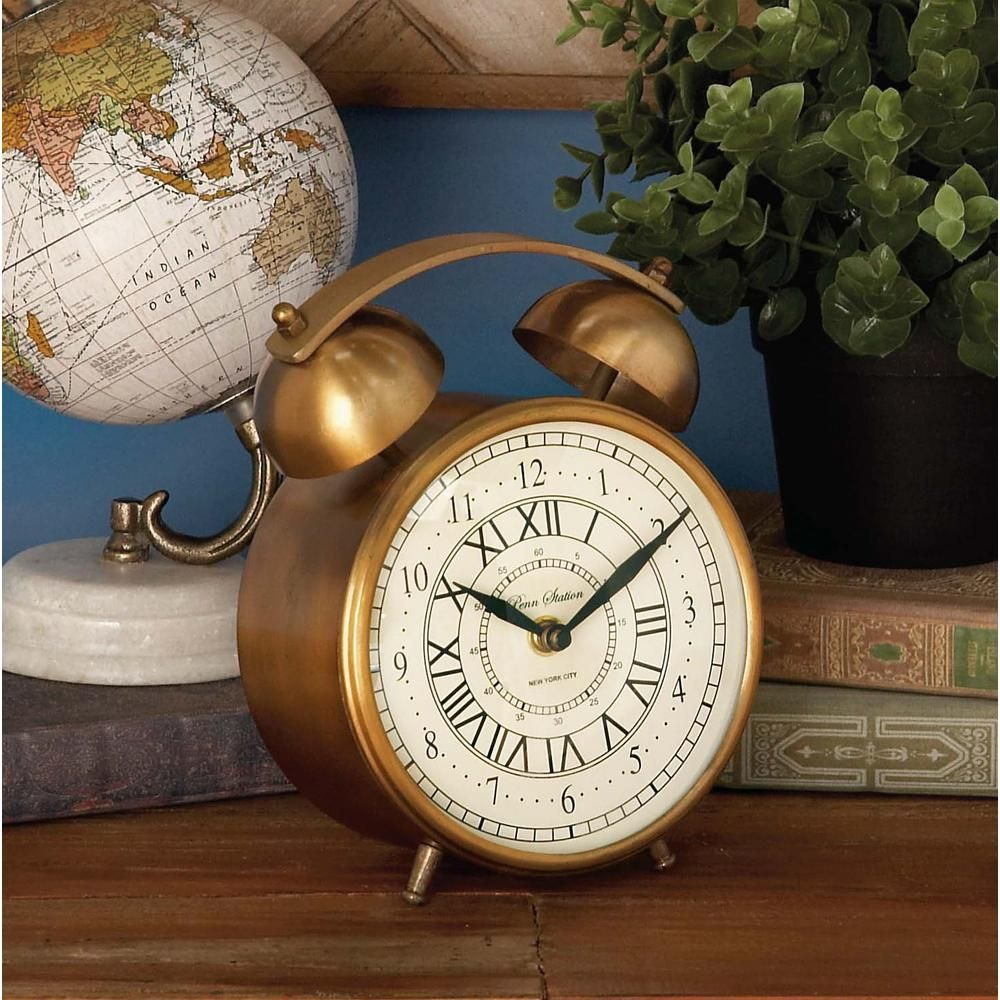 7 in. x 6 in. Classic Aluminum and Stainless Steel Alarm Table Clock in Brass Finish, Gold