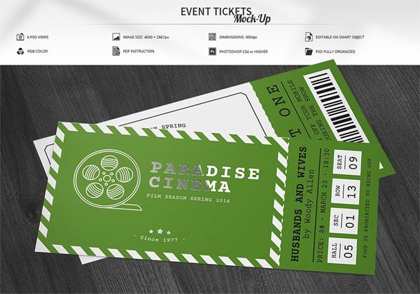 Free Ticket Mockups Mytemplatedesigns Mockup, Ticket