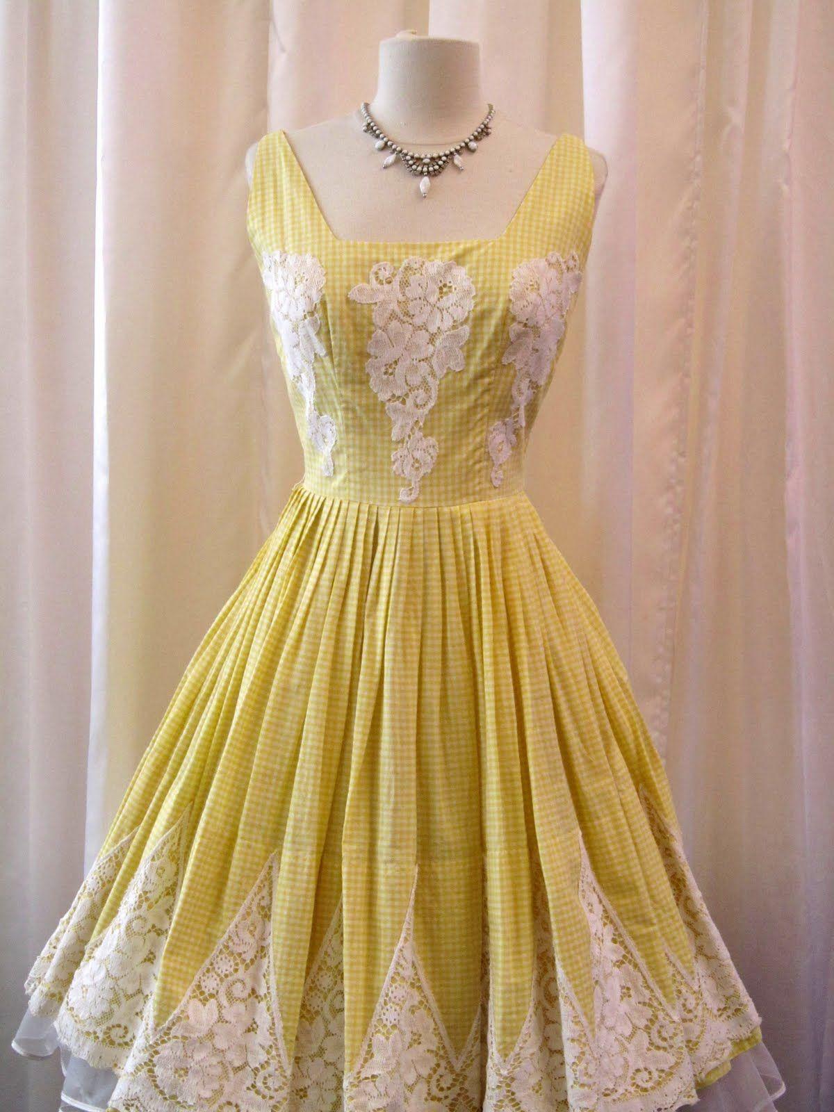 1950s lace dress  yellow lace dress  s Yellow Gingham u Lace Prom Dress  daciaus