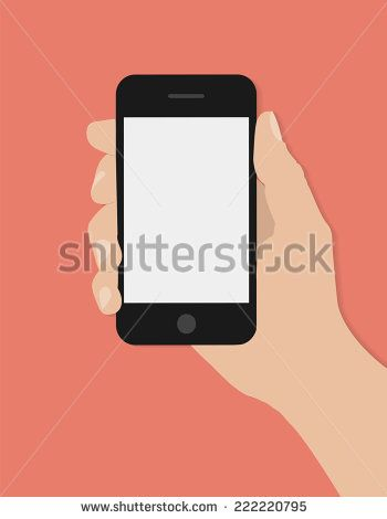 Hand holding smart phone on red background. Flat design