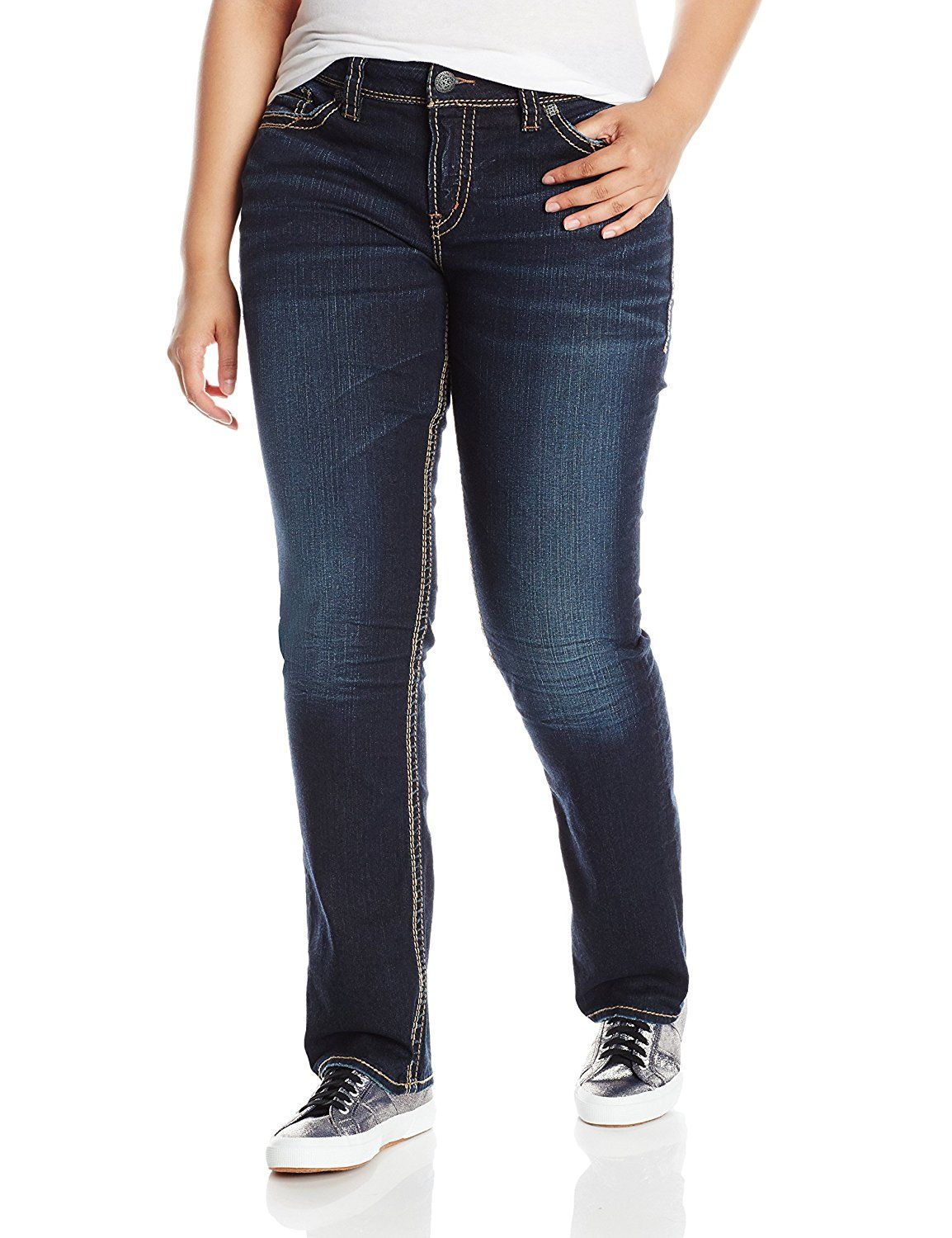 746d7681abb Silver Jeans Women s Plus-Size Suki Mid Rise Straight Leg Jean    This is  an Amazon Affiliate link. For more information