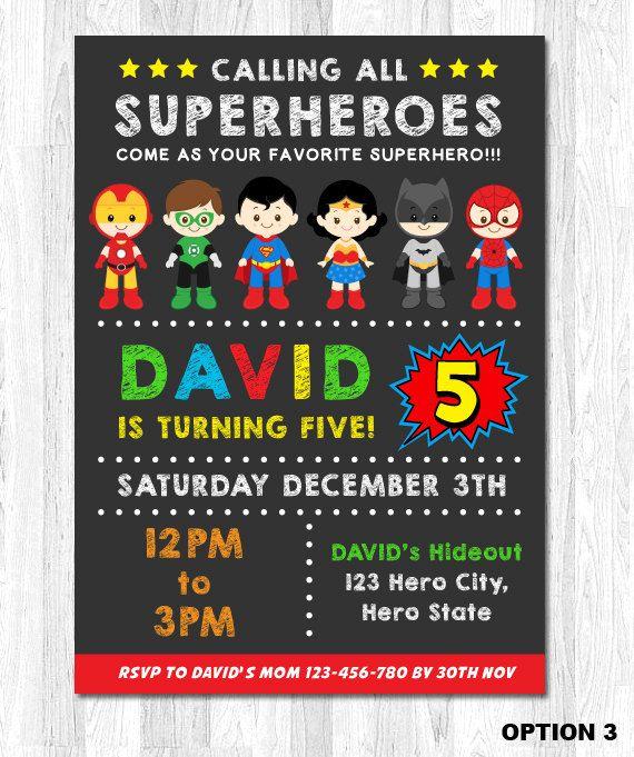 Superhéroe Cumpleaños Invitación Invitación De Niño Por