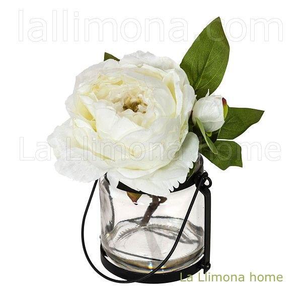 Arreglo floral peonia artificial con jarr n blanca http - Arreglos florales artificiales centros de mesa ...