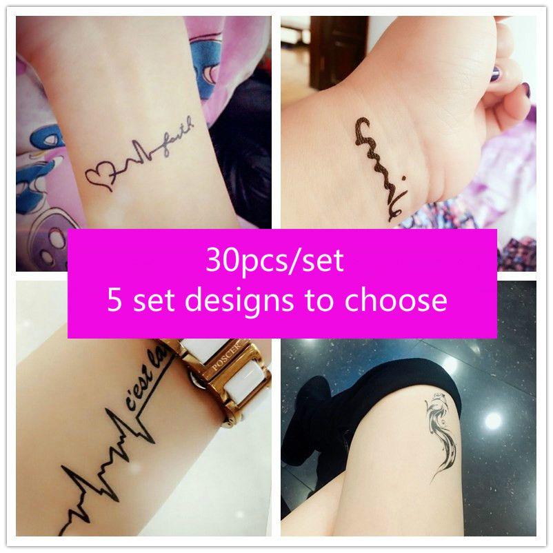 a4f67d1d34445 30pcs/set Sexy Temporary Tattoo Sticker Body Art Alphabet Crown Flower  Small Pattern Design Waterproof Fake Tattoo for Men Women