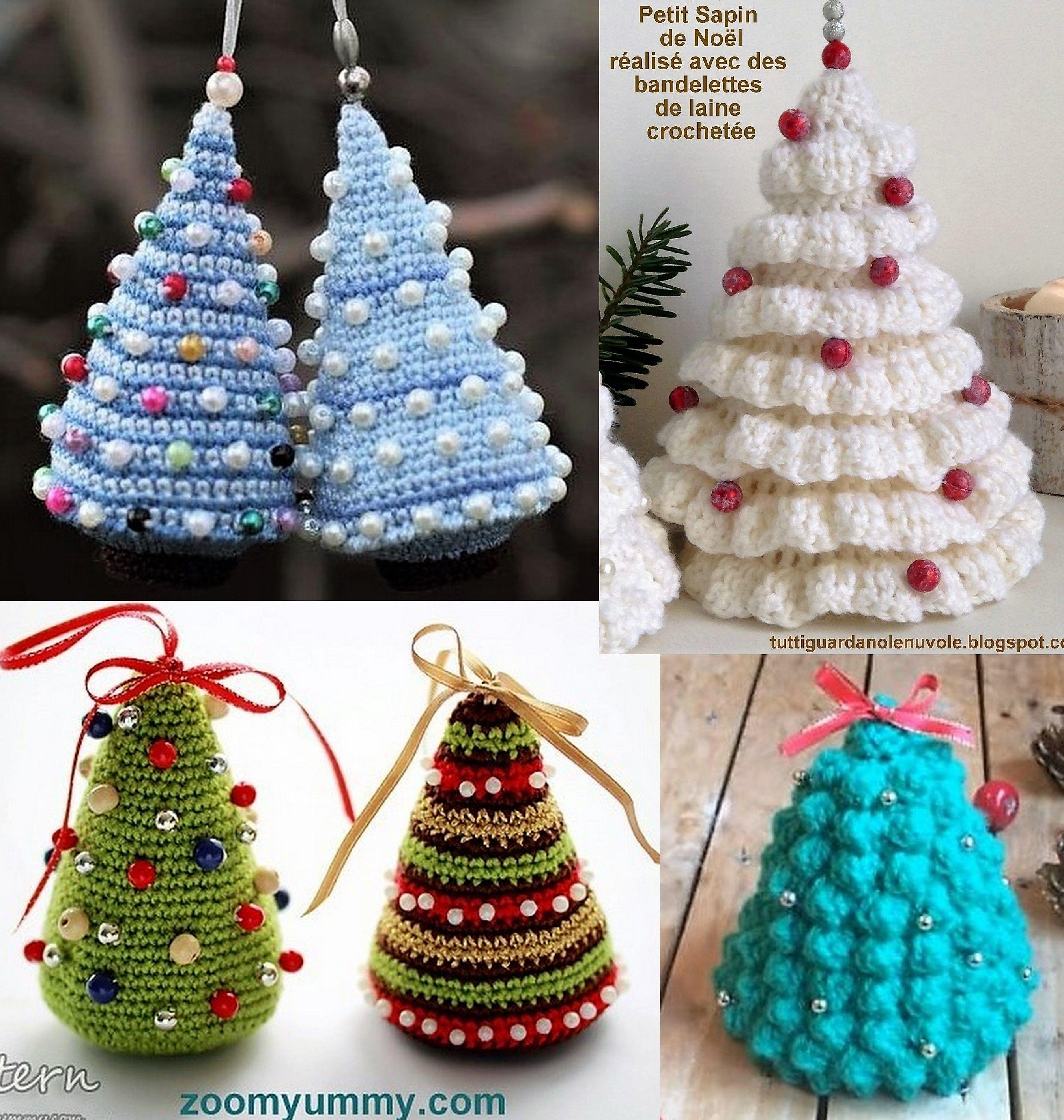 Modèles Petits sapins de Noël à faire au crochet   Christmas ornaments, Décorations de noël ...