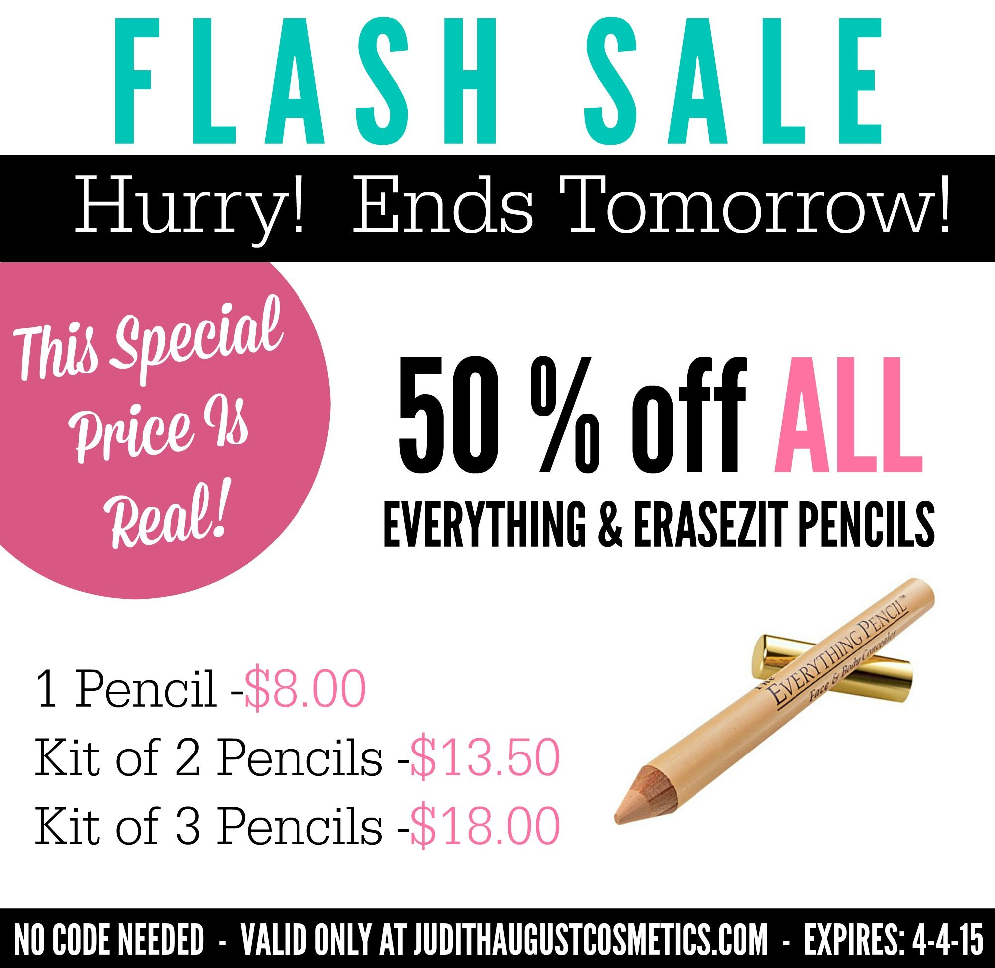 Flash Sale!  50% off All EraseZit & Everything Concealer Pencils!  ends tomorrow 4-4-15 #bestconcealer #bestfoundation #makeup #concealertips #makeuptips #highlightandcontour #beautytips #skincare #acnemakeup #acneconcealer #booboos #eyeshadow #lipstick