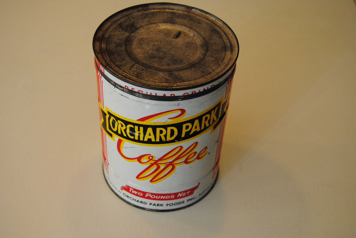 Orchard Park Vintage Coffee Can Tin Red Kitchen Tin Vintage Coffee Vintage Tins Coffee Tin