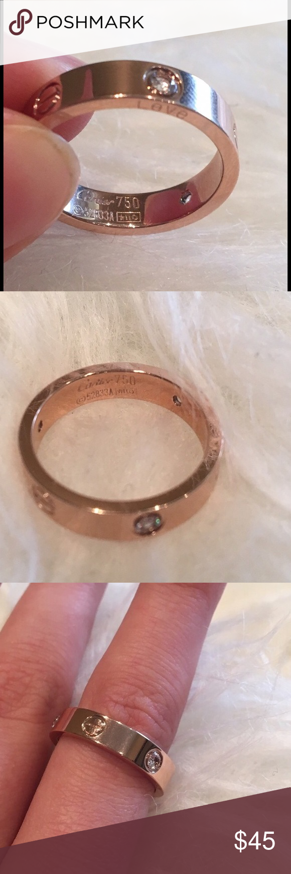 Love rose gold ring boutique gold rings stone and crystals