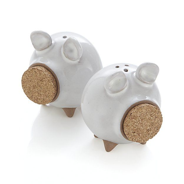 Set of 2 Oink Salt and Pepper Shakers is part of White Home Accessories Country Kitchens - Cork lids provide the snouts for our whimsical pigshaped salt and pepper shakers  Molded with liquid clay, each piece is dipped in a translucent white glaze     Stoneware   Cork lid   Dishwashersafe   Foodsafe   Made in China