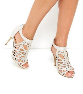 Silver Diamante Cut Out High Vamp Heels