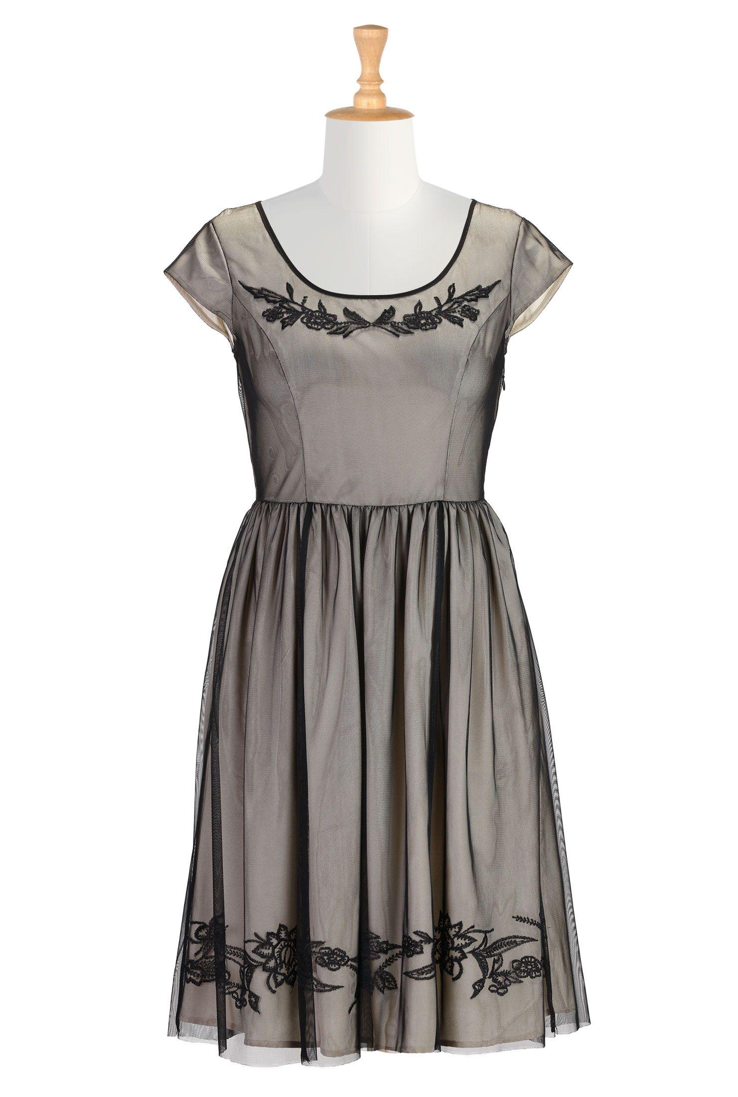 697cf86a33c8 Floral Embroidery Tulle Dresses, Cute Plus Size Clothes Shop Women's  Designer Dresses, Silk Dresses, Black Dresses, Women's Special Occasion  Dresses ...