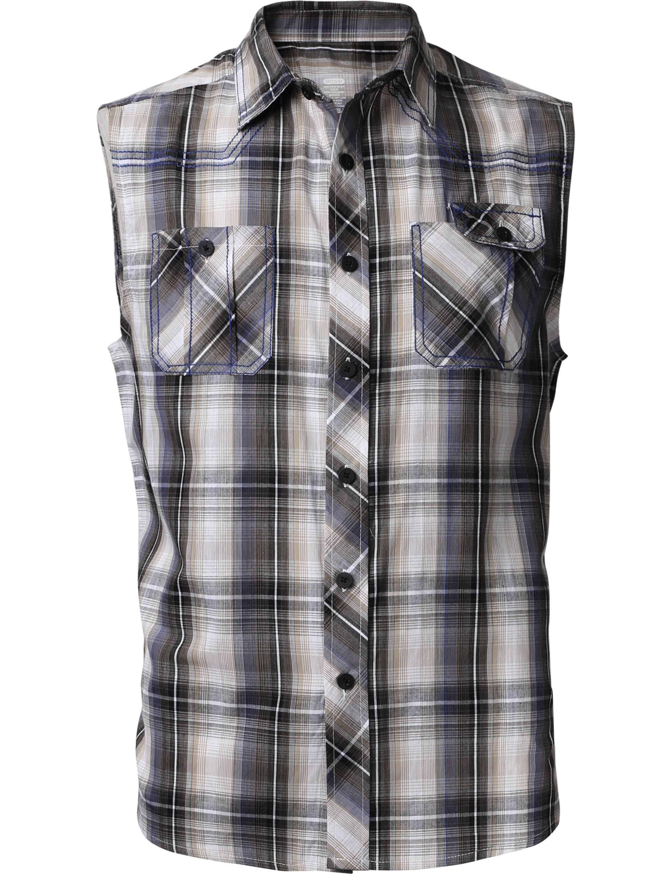 Free 2 Day Shipping Buy Ma Croix Mens Sleeveless Plaid Shirt Casual Button Down Flannel At Walmart Com Casual Plaid Shirt Casual Shirts Sleeveless Shirt Mens [ 3000 x 2308 Pixel ]