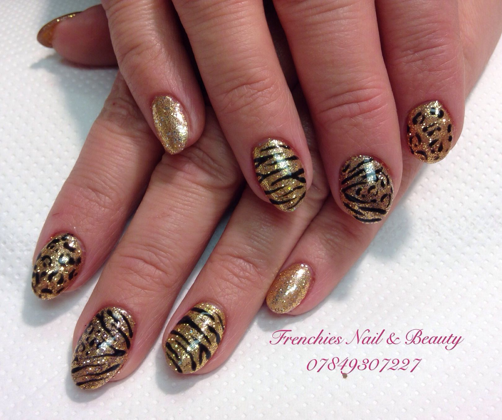 Acrylic overlay on natural nails with glitter &\'freehand design x ...