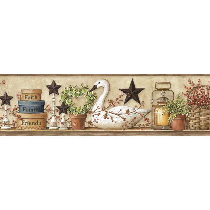 Brewster Home Fashions Pure Country Rue Swan Star Collage