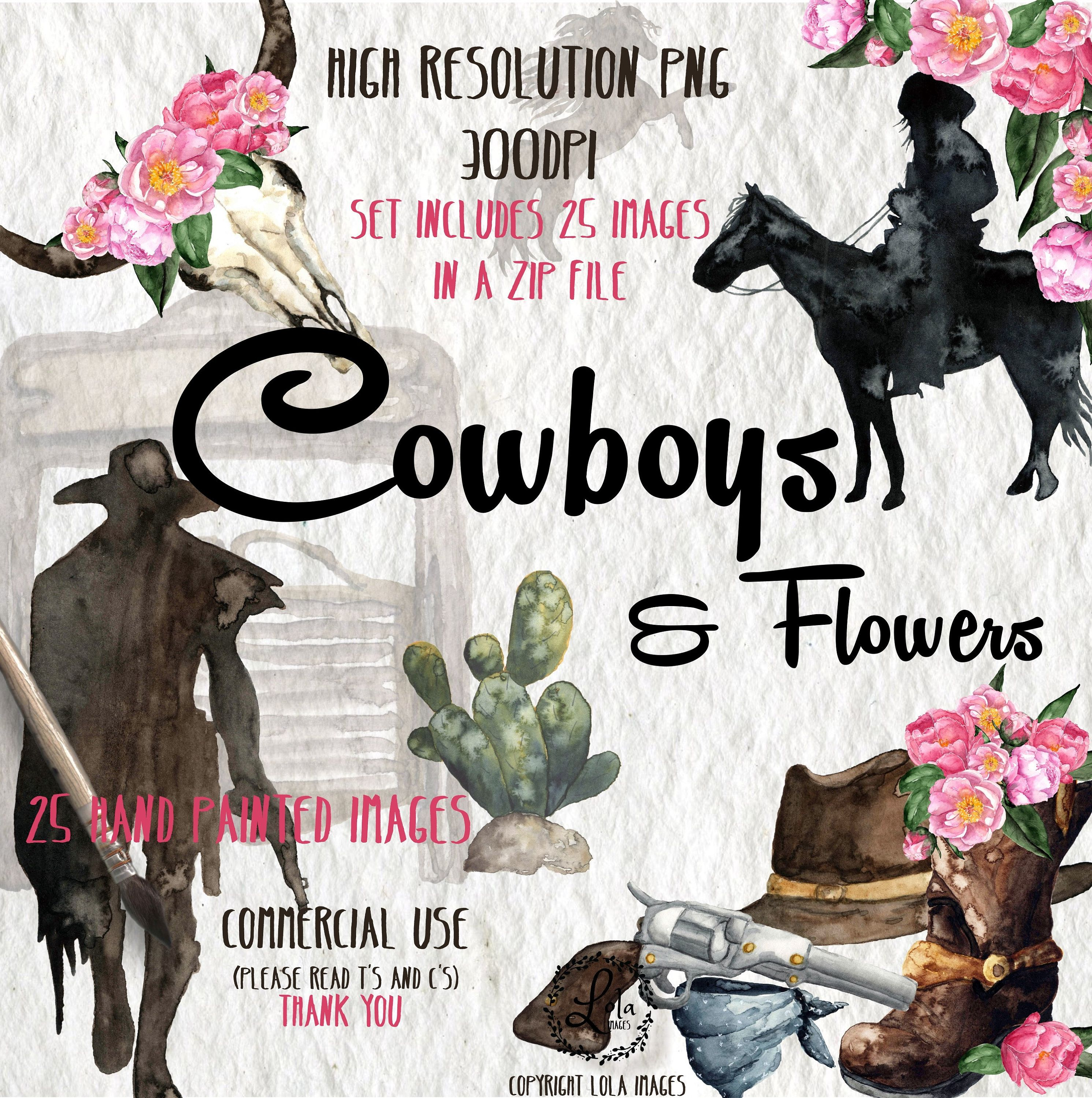 Watercolor Cowgirl Clipart Wedding Country Western Peony ...