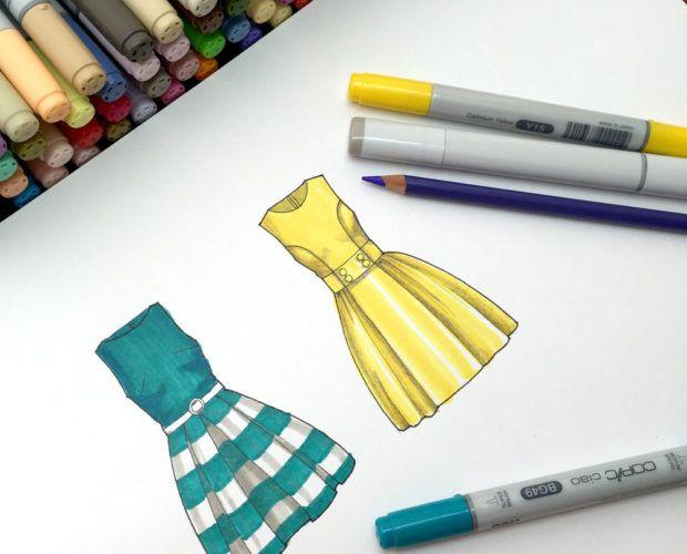 Cómo colorear vestidos con plumones   ilustracion de moda ...