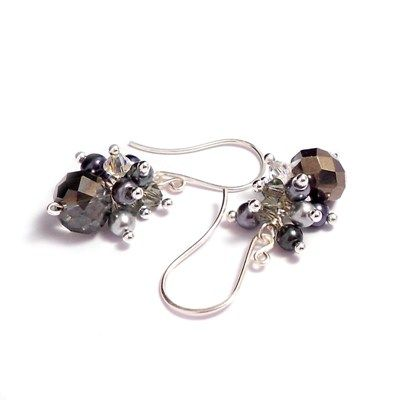Gorgeous Handmade Earrings Using Dark Grey Crystal Gl Faceted Beads Topped With A Cer Of Black And Silver Pearls Swarovski Crystals