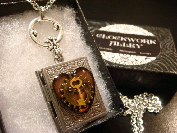 Steampunk Style Heart with Gear and Tiny Key by ClockworkAlley