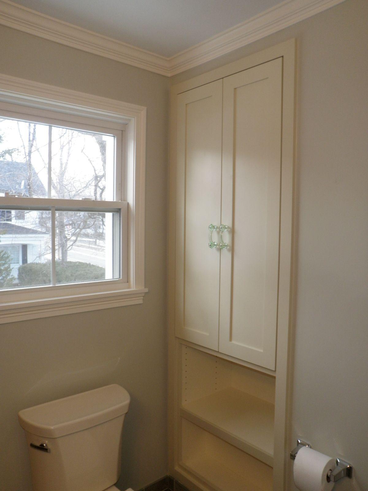 Gentil Small Condo Bath, Recessed Linen Cabinet.