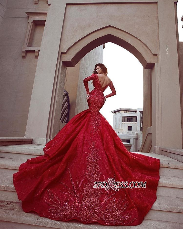 Gorgeous Red Long Sleeve Prom Dresses  d57d08dde59f4