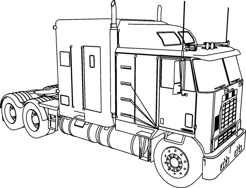 International 9600 Long Trailer Truck Coloring Page Trailer